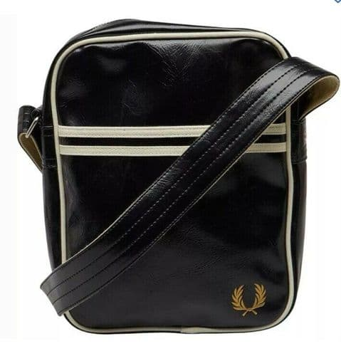 Fred Perry Men's Classic Side Bag Black/ Ecru Brand New Bagged & Tagged L6201